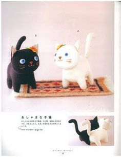 Free Kitty Felt Plush Pattern--- I like the black kitty with the halloween-colored head piece
