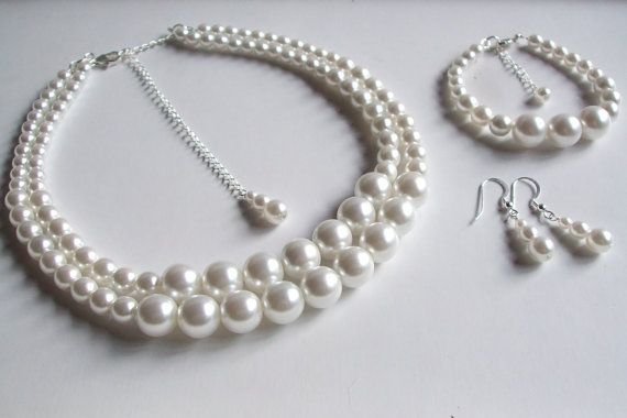 Pearl bridal jewelry set Sterling Silver by SheRocksJewellery
