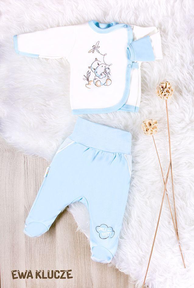 EWA KLUCZE, kolekcja BE HAPPY dla wcześniaków, koszulka i półśpiochy niebieskie EWA KLUCZE, BE HAPPY collection, jacket and joggers, baby clothes