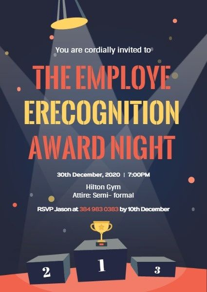 online employee recognition award night invitation