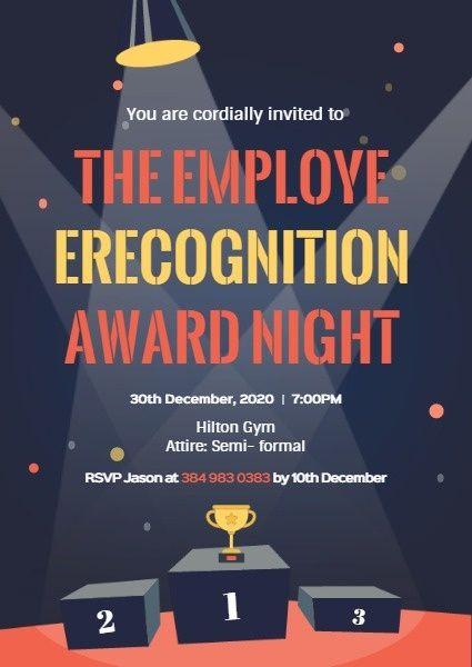 Online Employee Recognition Award Night Invitation Template Fotor Design Maker Employee Recognition Awards Awards Night Recognition Awards