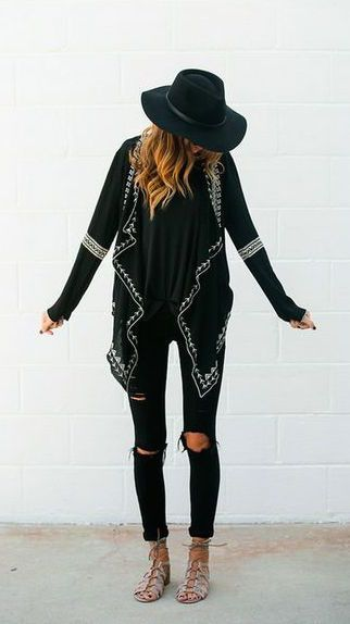 Give your simple black tee and distressed skinny jeans a bohemian vibe with an…