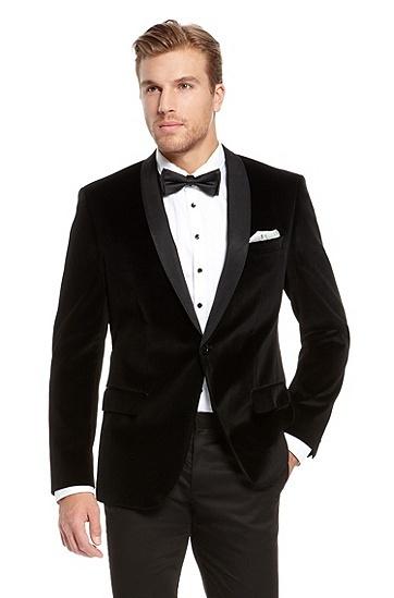 'Hyatt' | Slim Fit, Velvet Tuxedo Jacket, Black.  Hugo Boss