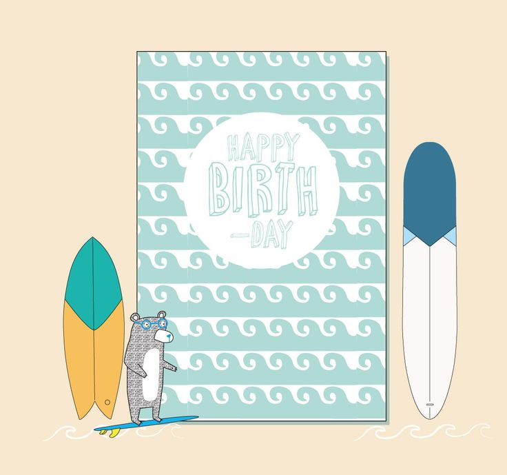 Happy Birthday Surf Wave Print - Greeting Card by Katie Cheetham by KtCheetham on Etsy https://www.etsy.com/uk/listing/509854384/happy-birthday-surf-wave-print-greeting