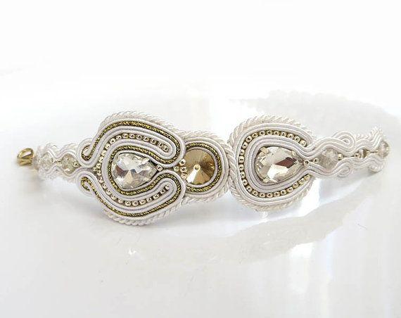 Unique white old gold Soutache Cuff Bracelet white by sutaszula