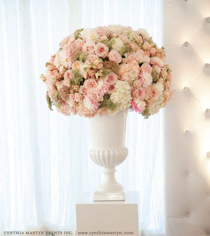 Blush roses. cream. hydrangea. topiary.