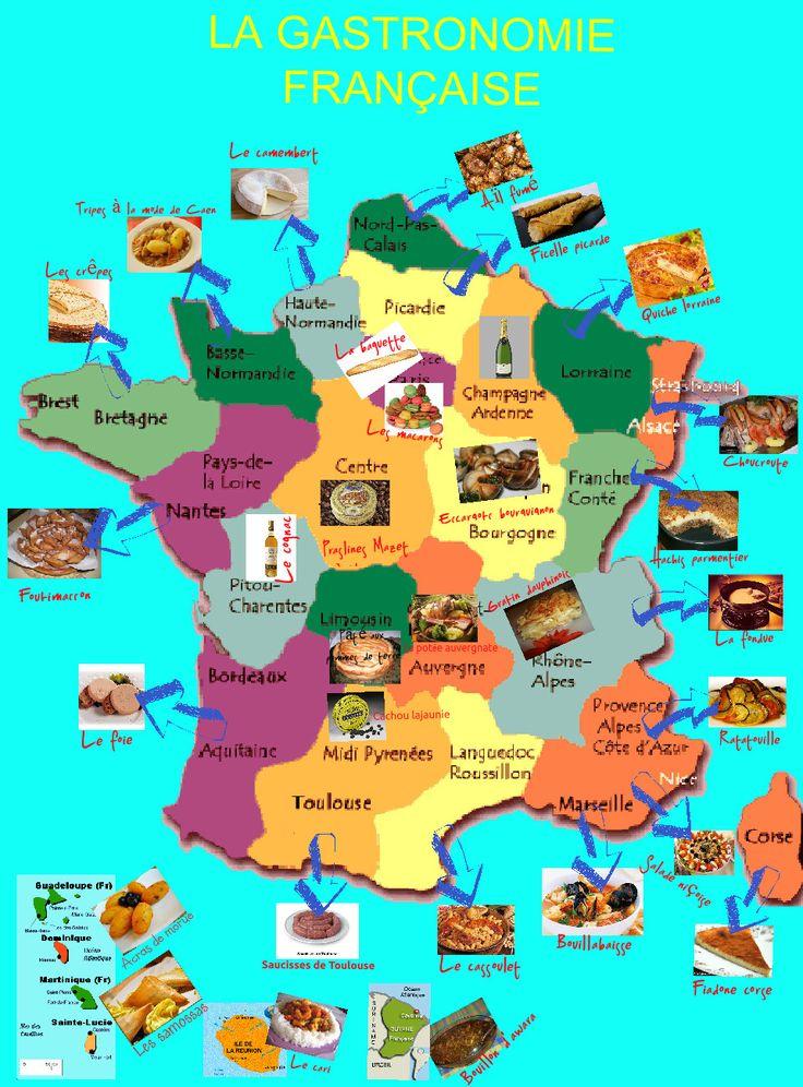 Carte gastronomie la france et les fran ais pinterest - Cuisine francaise par region ...