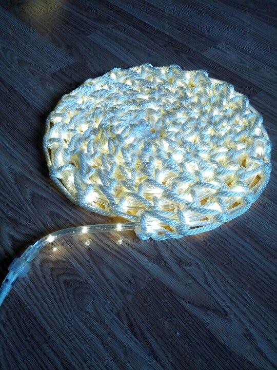 My crochet rope light rug. Gotta make it longer!