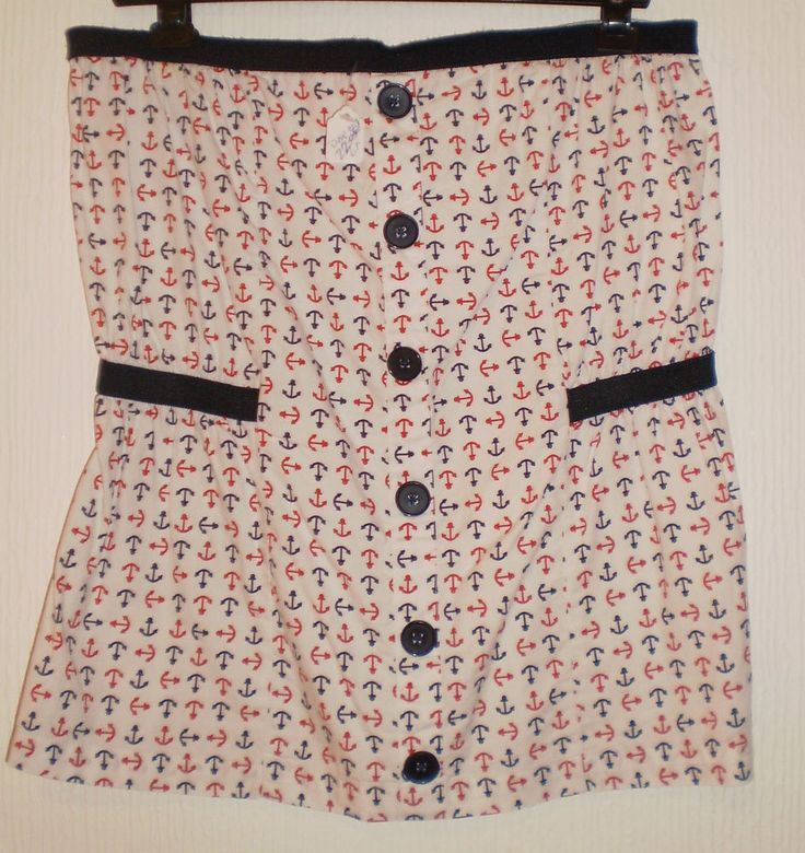 Topshop Multi Coloured Anchor Pattern Strapless Summer Bandeau Top, Size 10