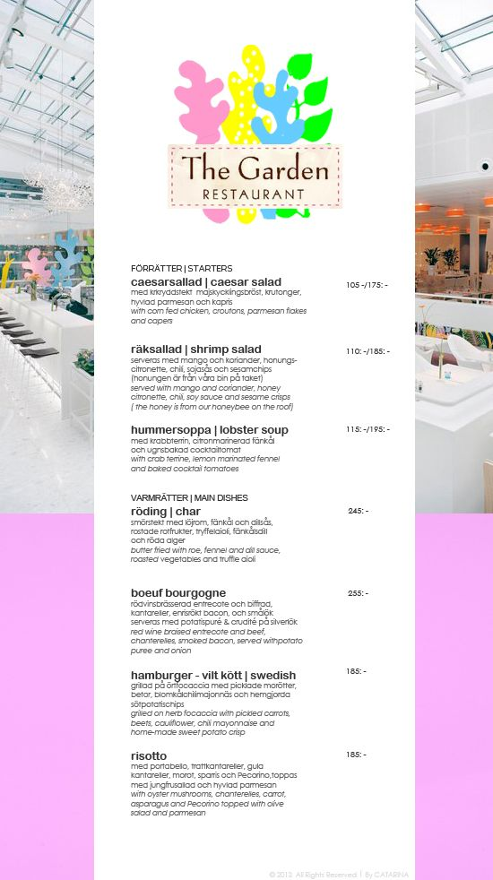 GRAPHICS | Menu . Restaurant . Clipboard ☆ TheGarden ☆ |  #restaurant #menu #clipboard #note #print #graphics #typography #logotype #web