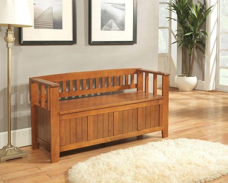grey wooden storage bench