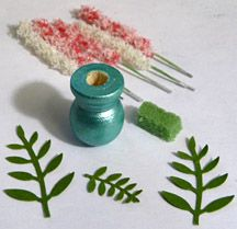 Free step by step tutorial how to make miniature food and dollhouse items with polymer clay and flower soft floral bouquet