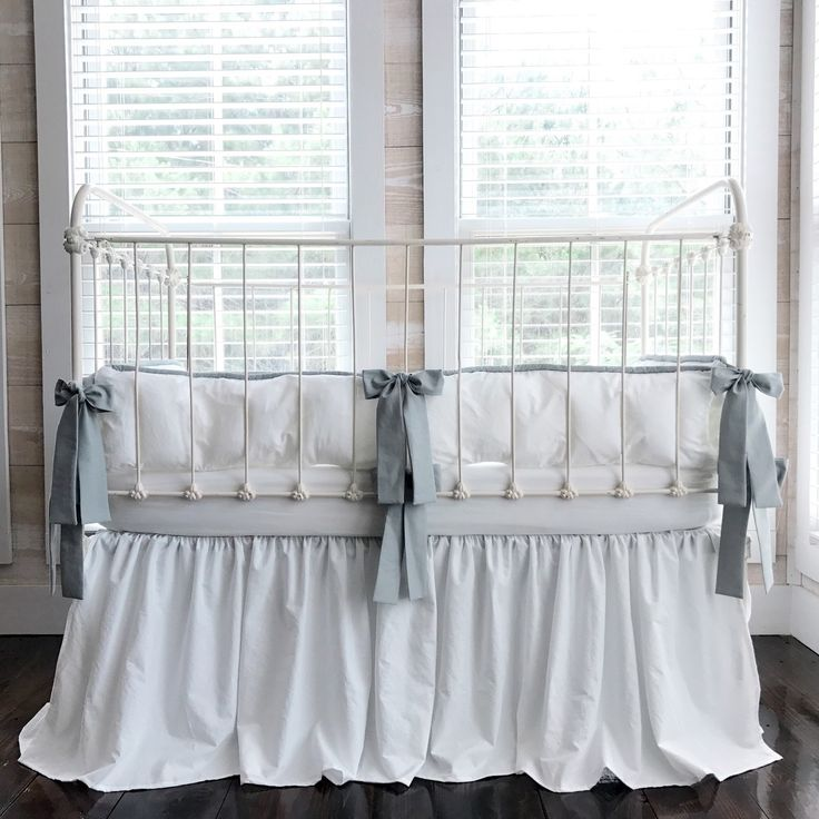 BRAND NEW TODAY!! 100% Washed Cotton Farmhouse Tailored Crib Bedding in White and Silver!! Perfect for a baby boy or a baby girl!! Such a clean classic crib bedding set for your perfect nursery!!