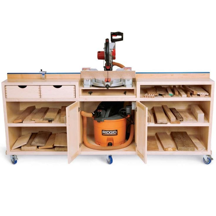 Take a closer look at the Ultimate Miter Saw Station project. This plan has all the best miter saw stand features. We show you how to build it.