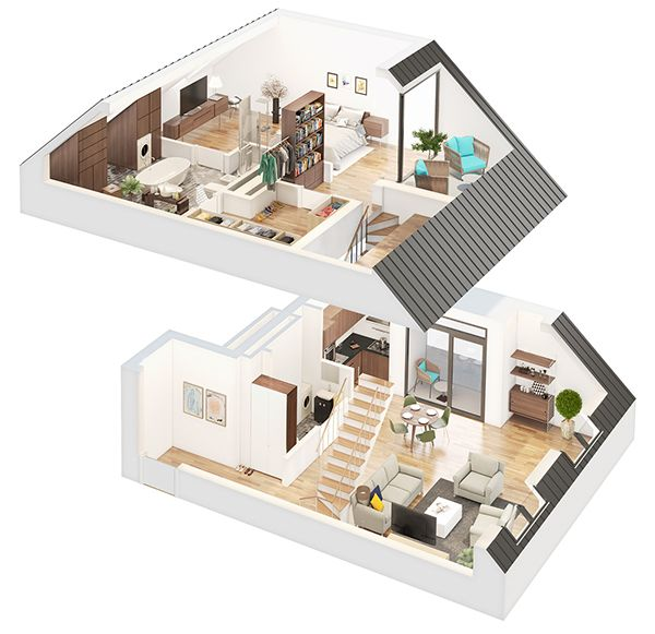 Here are couple fresh 3D apartments done for Eika
