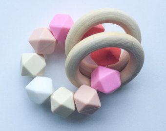Perle en bois jouet rose de dentition bio anneau de dentition en bois Ombré Silicone en anneau de dentition dentition dentition jouets Montessori jouet sensoriel Jouets bébé jouets Sili