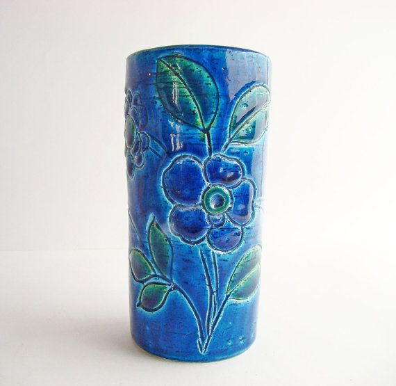 like a bolt from the blue, add this gorgeous burst of colour to your home with a vintage vase offered in Australia by AboutThePlace 1970s Blue Turquoise Flower Vase 70s Ceramics by AboutThePlace
