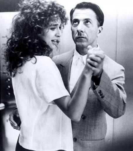 Valeria Golino and Dustin Hoffman in Rain Man, directed by Barry Levinson