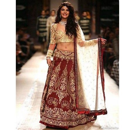 DARK RED FULL EMBROIDERY SILK LAHENGA WITH NET DUPATTA AND WORKED NET BLOUSE - Lehengas and Chaniya Cholis - Saree,Blouse & more