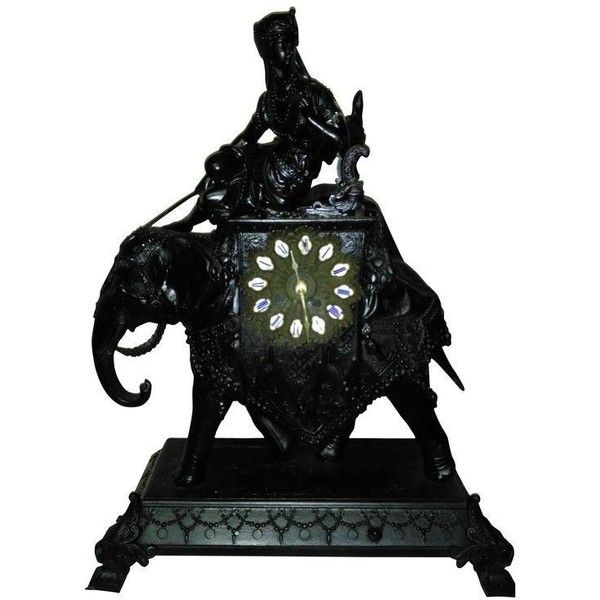 Egyptian Revival Mantel Clock (€260) ❤ liked on Polyvore featuring home, home decor, clocks, battery powered clock, black mantle clock, black clock, black mantel clock and battery operated clocks