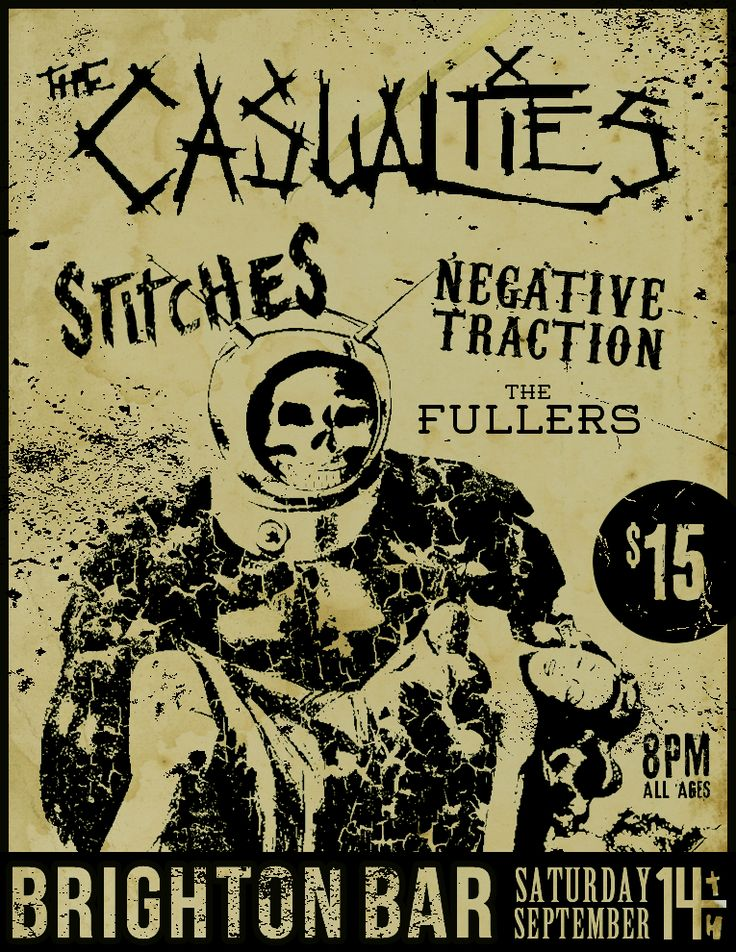 Punk Show Gig Flyer Design The Casualties With Stitches