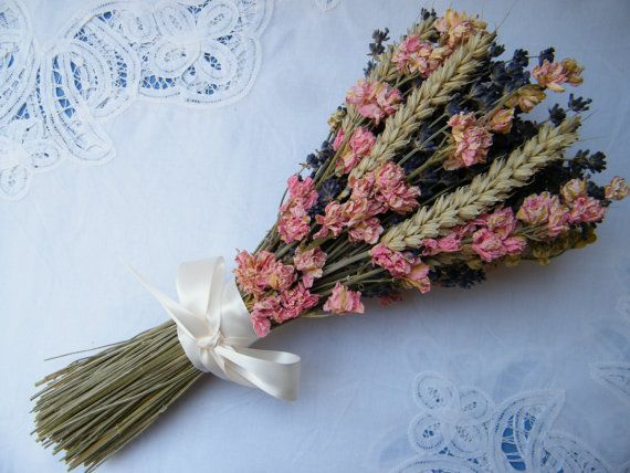 Dried flower bouquet with lavender delphiniums & by DaisyShopUK