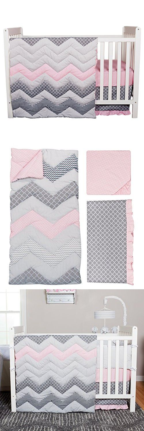 Trend Lab Chevron 3 Piece Crib Bedding Set, Cotton Candy