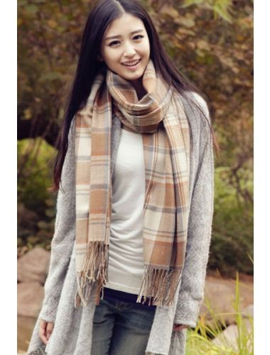 Faux Cashmere Plaid Beige Scarf With Tassels- Light weight with super soft.| Scarf | Accesories | StringsAndMe