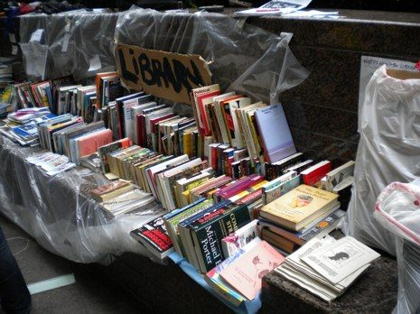 The Occupy Wall Street Library, located on a bench in Zuccotti Park.  Librarian:  Betsy Fagin.