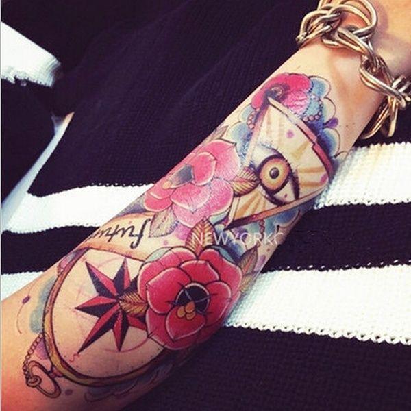 Waterproof Tattoo Stickers Rose Flower Arm Of God Angel Eyes Large Tattoos Compass Wish In 2021 Tattoos Artwear Flower Skull