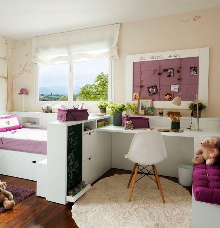 weiße Kinderzimmermöbel, creme Wandfarbe und lila Akzente