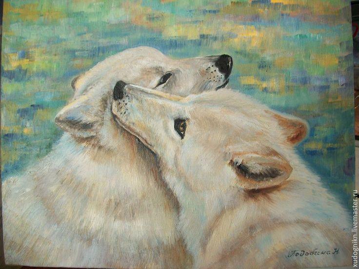 Купить Картина маслом Белые волки - голубой, белый, волк, волчица, семейная пара