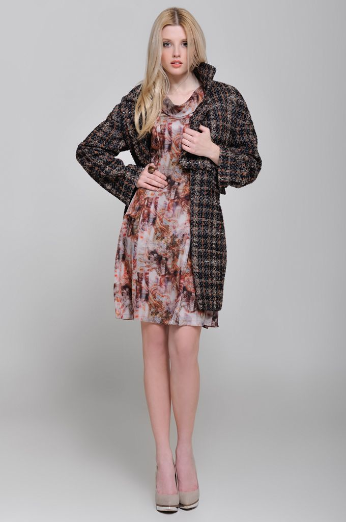 Bouclé checked coat, A line printed dress with short sleeve