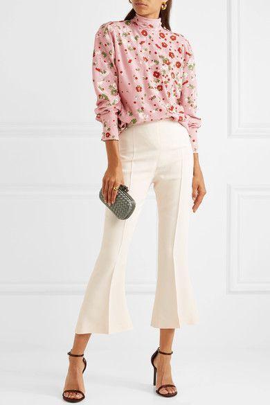 Valentino | Open-back floral-print silk crepe de chine blouse | NET-A-PORTER.COM