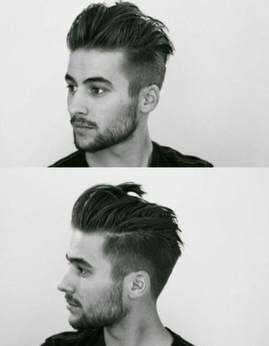 Slicked back hair with an undercut