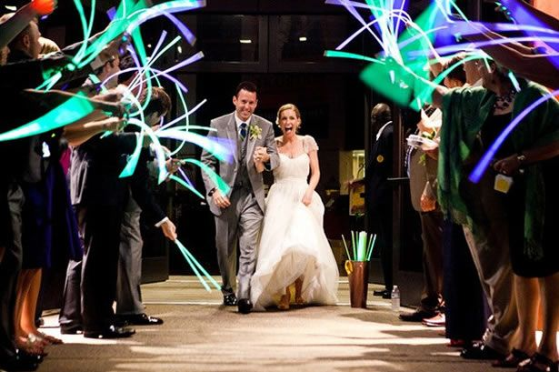 glow stick wedding exit (plus 4 other unique wedding exits)-meets requirement of no fireworks!