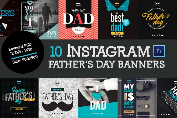 10 Father's Banners Instagram by VPB on @creativemarket