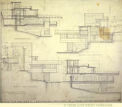 Elevation drawings for Falling Water - (Kaufmann Residence) by Frank Lloyd Wright.