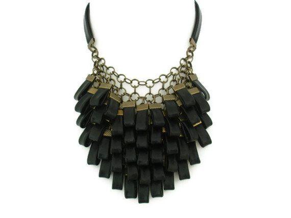 ON SALE...Black Leather Cluster Statement Necklace door SartoJ, £75.00
