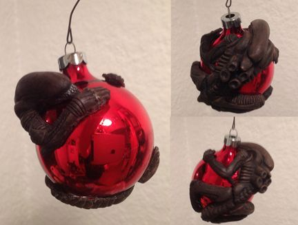 alien christmas ornament hand crafted and painted