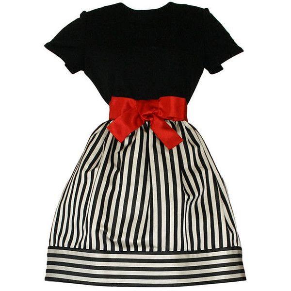 Preowned Bill Blass Vintage Black & White Stripe Dress W/ Red Bow Belt (£695) ❤ liked on Polyvore featuring dresses, vestidos, short dress, white, mini dress, short fitted dresses, white black dress, black white dress and vintage mini dress
