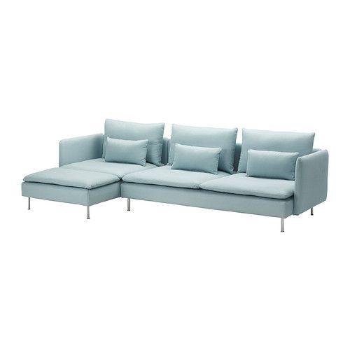 IKEA - SÖDERHAMN, 3-zitsbank en chaise longue, Isefall lichtturkoois, , De diverse onderdelen van de zitmeubelserie kunnen op meerdere manieren aan elkaar worden gekoppeld of los worden gebruikt.In de SÖDERHAMN zitmeubelserie zit je diep, laag en zacht en de losse rugkussens bieden extra ondersteuning.Door het elastische weefsel op de bodem en zitkussens met HR-foam zit je zacht met een lichte, aangename vering.Sterke, zeer slijtvaste hoes met structuur. Licht glanzend en zacht.De hoes is…