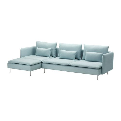 Love thr color:  SÖDERHAMN Sofa and chaise lounge - Isefall light turquoise - IKEA