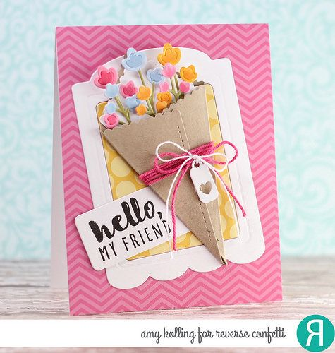 Card by Amy Kolling. Reverse Confetti stamp set: A Friend Like You. Confetti Cuts: Flower Wrap. Friendship card.