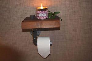 Massiver Toilettenpapierhalter WC Rollenhalter Papierhalter aus Industrierohr und 4,1 cm dickem amerikanischem Nussbaumholz von Unikatisch