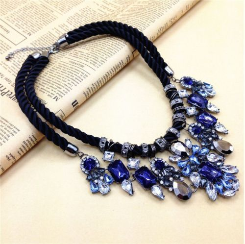 New Beauty Women's Alloy Drop Crystal Statement Double Choker Necklace XL1403   eBay