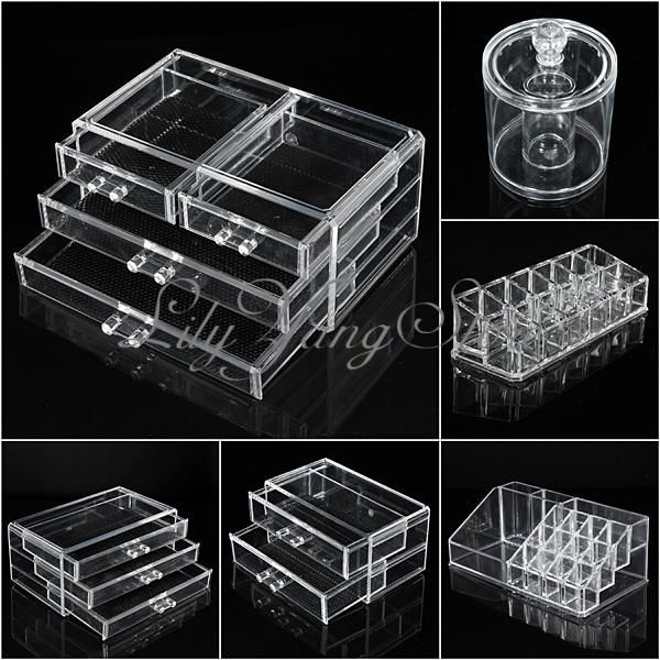 Acrylic Clear Cosmetic Make Up Case Lipstick Liner Brush Holder Organizer Drawer | eBay