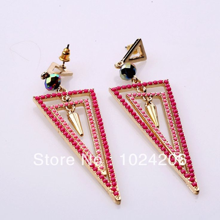 Find More Drop Earrings Information about Valentine's Gift 2014 Fashion Drop Earring Fashion Elegant Hot Sale Triangle Shape Rhinestone pink Color Alloy Drop Earrings,High Quality Drop Earrings from XJD Store on Aliexpress.com