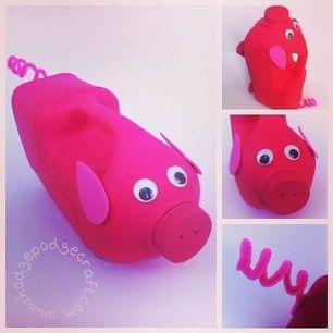 No spill pig watering can made from an old plastic milk jug!    (www.hodgepodgecraft.com - craft ideas for kids, recycle)