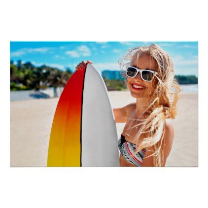 #Surfing Sunglasses woman beach travel poster - #travel #trip #journey #tour #voyage #vacationtrip #vaction #traveling #travelling #gifts #giftideas #idea